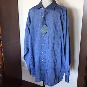 Mario Tomei Blue Woven Button Down Shirt XXL NWT